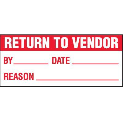 Return To Vendor Status Label