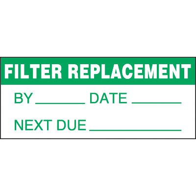 Filter Replacement Status Label