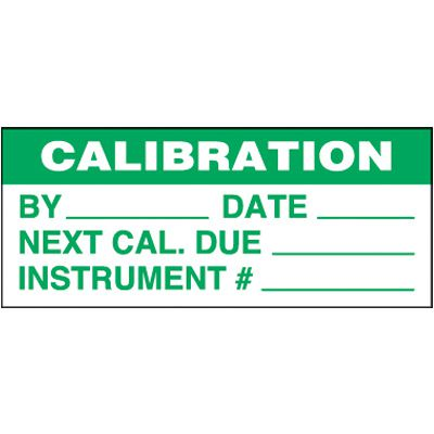 Calibration Self-Laminating Status Labels