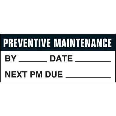 Preventive Maintenance Self-Laminating Status Labels