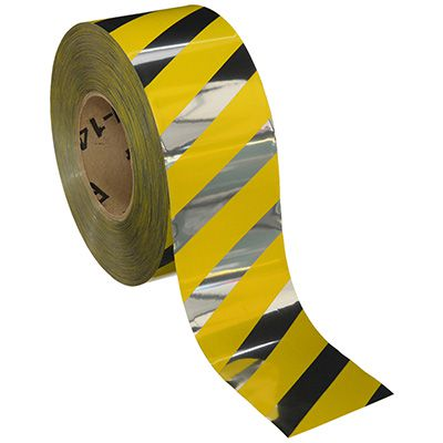 Reflective Barricade Tape - Caution Stripe