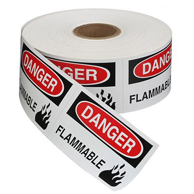 Safety Labels On A Roll - Danger Flammable