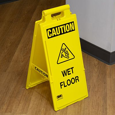 Cortina Lockin'arm Floor Stand Signs - Caution Wet Floor with graphic 03-600-34