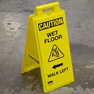 Cortina Lockin'arm Floor Stand Signs - Caution Wet Floor Walk Left 03-600-35