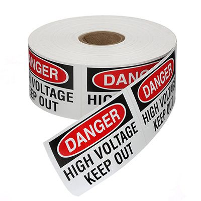 Safety Labels On A Roll - Danger High Voltage Keep Out