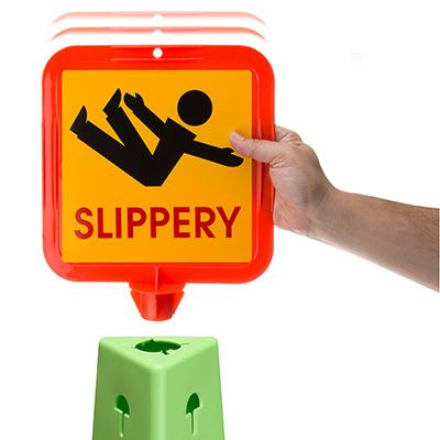 Trivu 3-Sided Safety Cones - ! Slippery