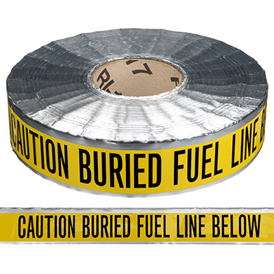 Detectable Underground Warning Tape - Caution Buried Fuel Line Below