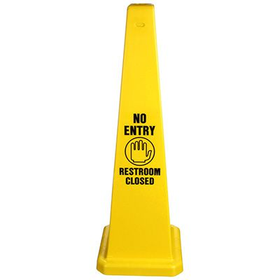 Safety Traffic Cones - No Entry Restroom Closed w/ Graphic
