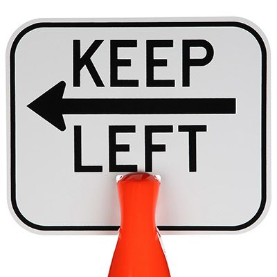 Arrow Sign Plastic Traffic Cone Signs- Keep Left With Arrow KEPL