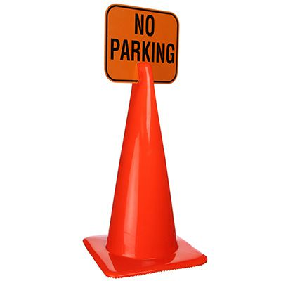 Plastic Traffic Cone Signs- No Parking