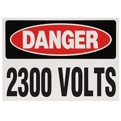 Voltage Warning Labels - Danger 2300 Volts