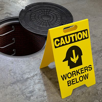 Heavy Duty Floor Stand Signs - Caution Workers Below