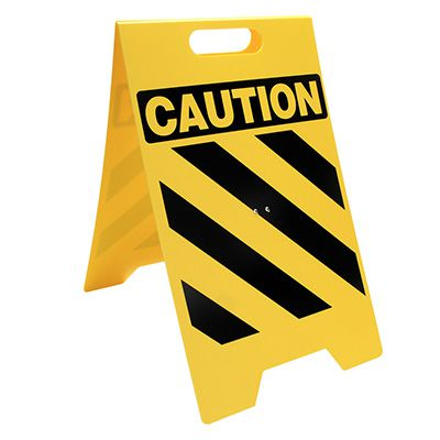 Heavy Duty Floor Stand Signs - Caution Stripes Only