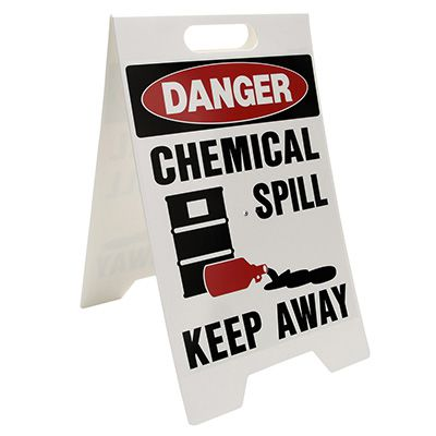 Spill Floor Stand - Danger Chemical Spill Keep Away
