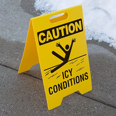 Heavy Duty Floor Stand Signs- Icy Conditions