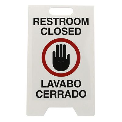 Bilingual Heavy Duty Floor Stand Signs - Restroom Closed