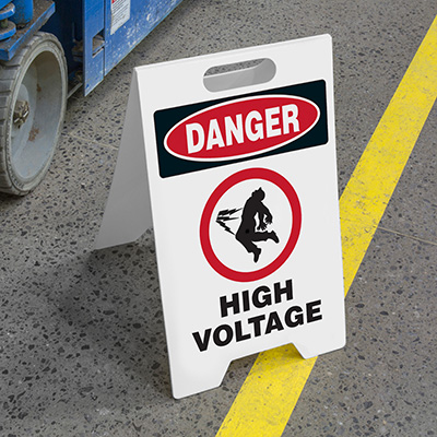 Heavy Duty Floor Stand Signs - Danger High Voltage