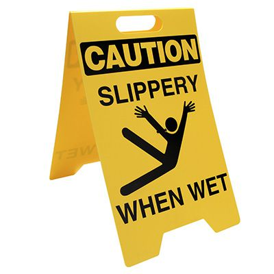 Heavy Duty Floor Stand Signs - Caution Slippery When Wet