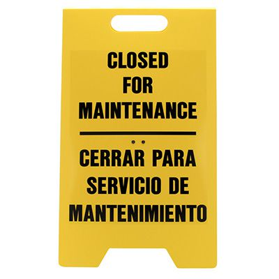 Bilingual Heavy Duty Floor Stand Signs - Closed For Maintenance