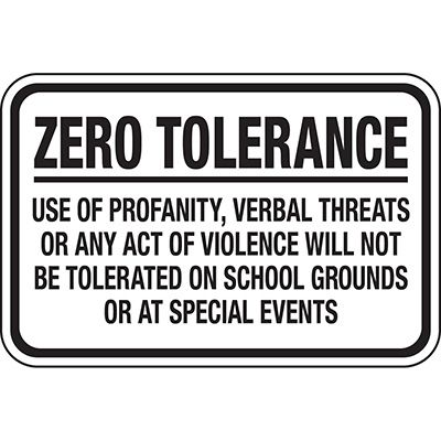Zero Tolerance Use Of Profanity - Playground Sign